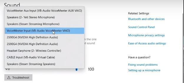 desktop sound input setting