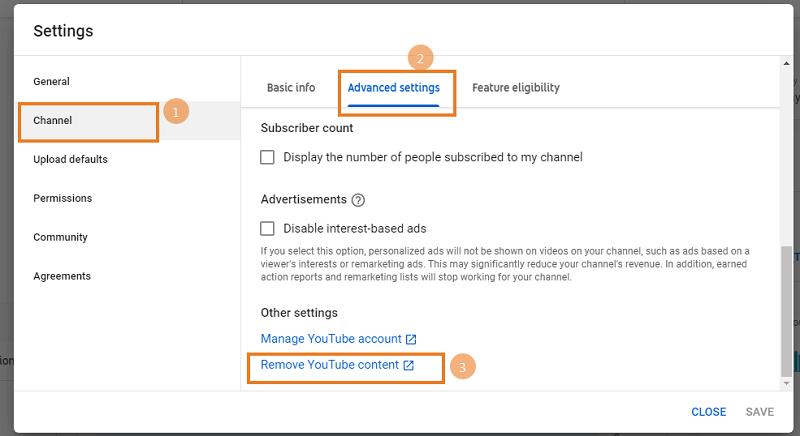 Remove YouTube Content