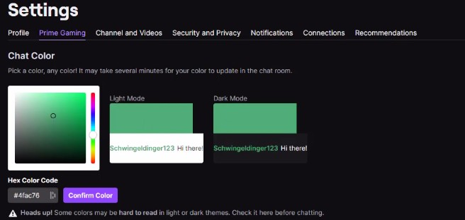 Change Twitch Name Color