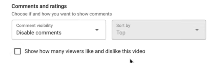 youtube Comments & ratings